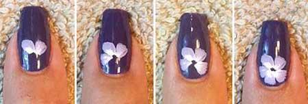 آموزش تصویری طراحی گل بنفشه روی ناخن