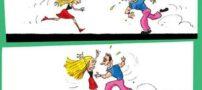 کاریکاتورعلاقه یک دختر و پسر به همدیگر