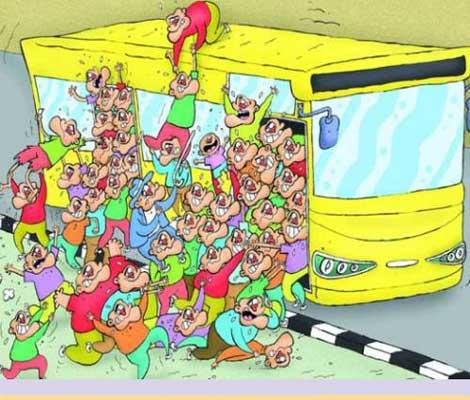 کاریکاتور ازدحام بیش از حد در اتوبوس های بی آر تی