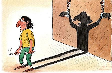 کاریکاتور جالب از اعتیاد به مواد مخدر