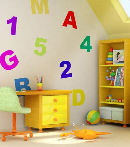مدل تزئینات اتاق کودک با سبک استنسیل