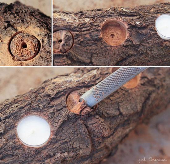 ساخت جاشمعی پاییزی با کنده درخت