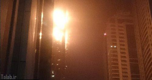 آتش گرفتن یک آسمان خراش در دبی + تصاویر