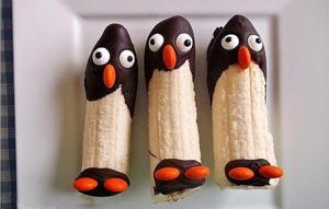آموزش تصویری درست کردن پنگوئن با موز