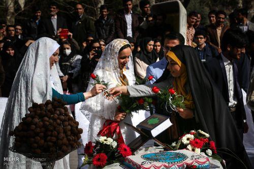 عکس های جشن عروسی ۶ دانشجو در کنار شهدای گمنام