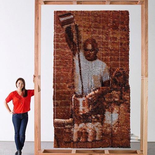 تصاویر ساخت اثر هنری با چای کیسه ای
