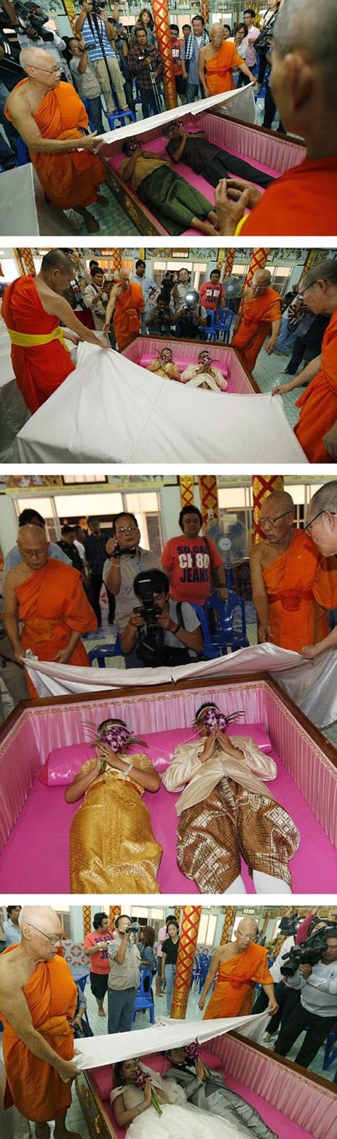 جشن عجیب ازدواج تایلندیها در تابوت ! (+عکس)