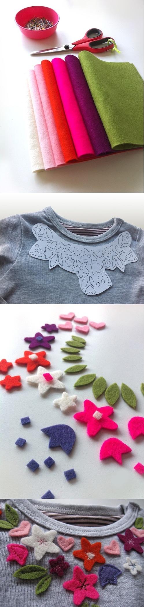 تزئین زیبای بلوز ساده با گلهای نمدی (فوتری)