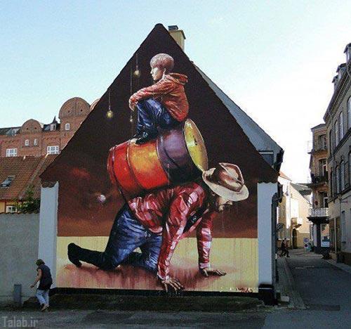 هنرمندی که دفتر نقاشی اش دیوار های خیابان است (عکس)