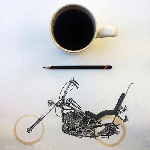 نقاشی های فوق العاده زیبا با لکه های قهوه