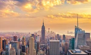 نمایی هوایی زیبا از نیویورک یخی
