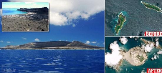 تصاویر دیدنی از پدید آمدن یک جزیره در دل اقیانوس