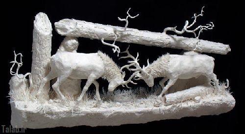ساخت مجسمه های زیبا با کاغذ (عکس)