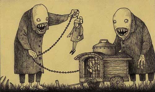 نقاشی های ترسناک از خواب های وحشتناک کودکانه