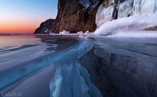 تصاویر حیرت انگیز از شکاف دریاچه یخ زده