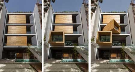 ساختمانی مدرن با اتاق های متحرک در تهران + عکس