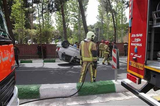 اوج هنر بانوی ایرانی در واژگون کردن خودرو + تصاویر
