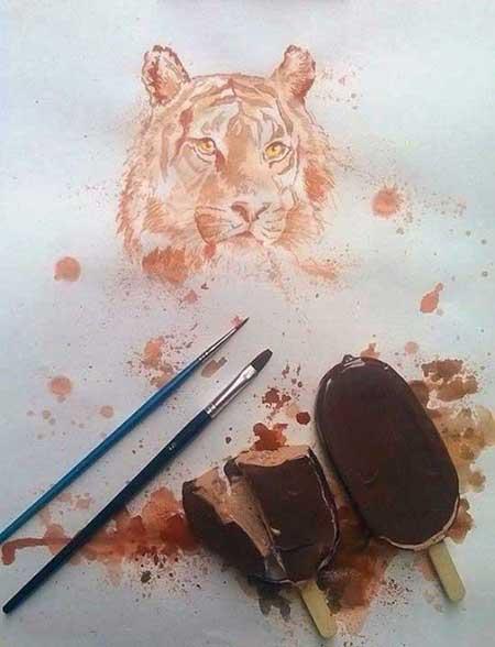 عکس هایی از نقاشی های شگفت انگیز با بستنی آب شده