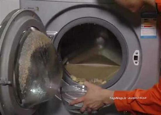 عجیب ترین روش پختن سوپ با ماشین لباسشویی (عکس)