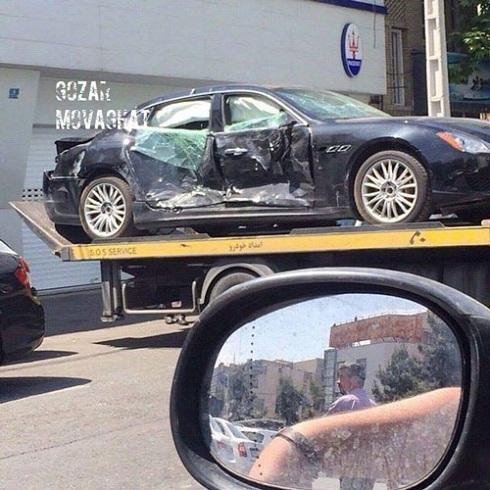 وقتی مازراتی 2 میلیاردی در تهران تصادف می کند (عکس)