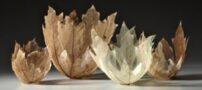تصاویر کاسه های ظریف که از برگ ساخته شده اند
