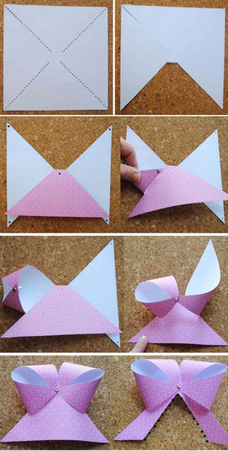درست کردن پاپیون کاغذی برای تزیین هدیه