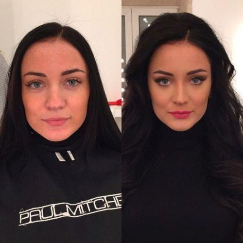 تصاویر جالب از مقایسه چهره زنان قبل و بعد از آرایش