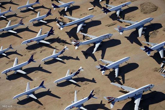 تصاویری از گورستان هواپیماهای مسافربری در آمریکا