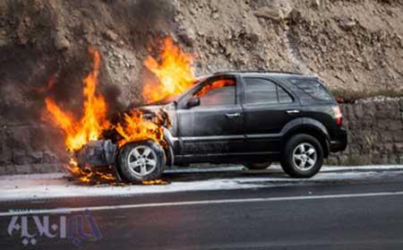 خودرو سورنتو در جاده هراز دچار حریق شد + تصاویر