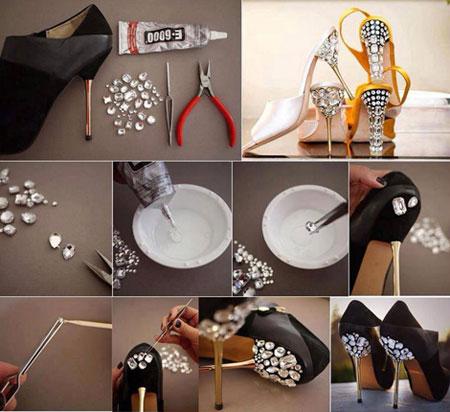 آموزش تزیین کفش های ساده به کفش های مجلسی شیک