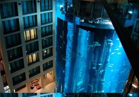 بزرگترین آکواریوم جهان با یک آسانسور داخل آن (+عکس)