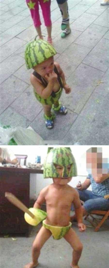 تصاویر لباس های هندوانه ای در چین برای گرما