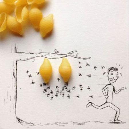 عکس هایی از نقاشی های ترکیبی و طنز با اشیا