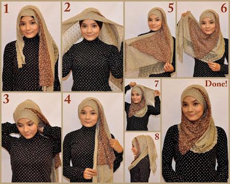 آموزش مرحله ای بستن شیک شال و روسری 2015