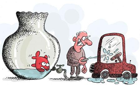 کاریکاتورهایی از بحران بی آب