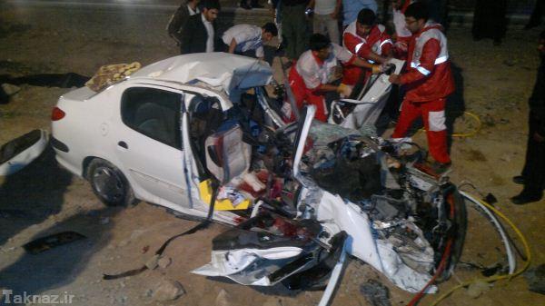 تصاویری از تصادف پژو 206 با تریلی
