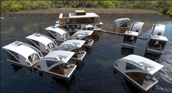 هتل زیبا و لوکس شناور روی آب در صربستان + تصاویر