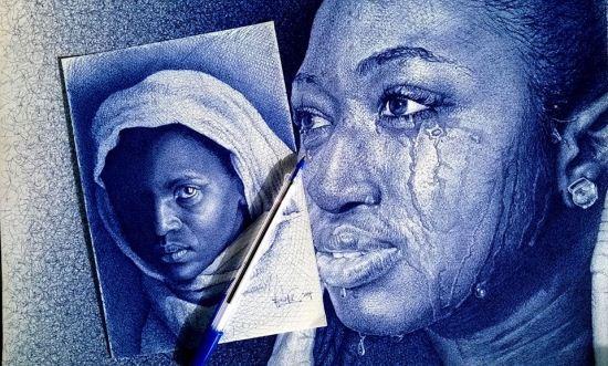 نقاشی های بسیار زیبا و خلاقانه با خودکار آبی