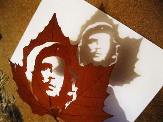 عکس های دیدنی از خلق آثار زیبا بر روی برگ درختان
