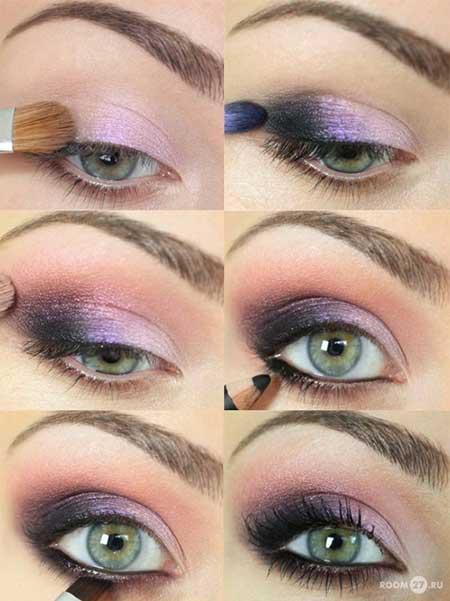 مراحل آرایش بنفش چشم