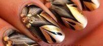 طراحی های زیبای ناخن با ترکیب رنگ مشکی و طلایی