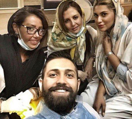 سلفی محسن افشانی و خانم دندانپزشک جذاب