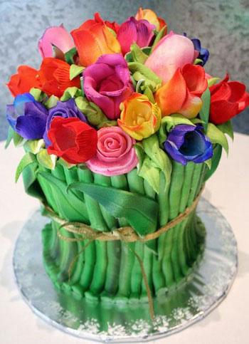 طرز تهیه کیک گلدار مخصوص عروسی