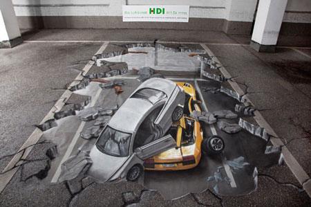 نقاشی های شگفت انگیز و گیج کننده 3 بعدی در خیابان