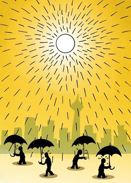 تصاویری از کاریکاتور تابستان و گرمای هوا