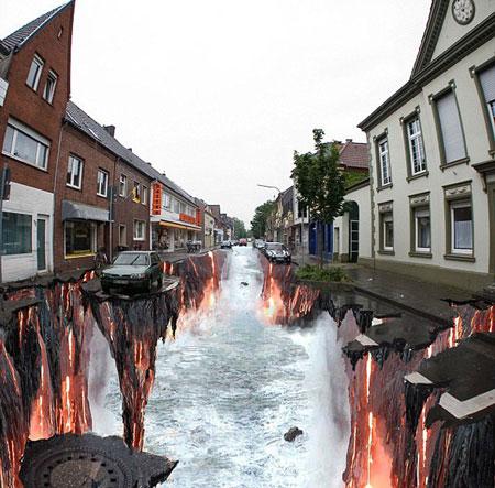 اوج هیجان با نقاشی های سه بعدی خیابانی