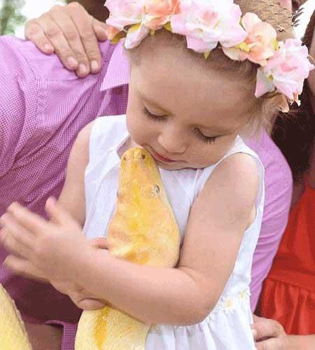 مار غول پیکر دوست صمیمی دختر 2 ساله + عکس