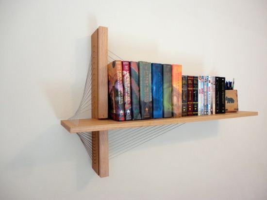 طرح جالب یک قفسه کتاب به شکل پل معلق