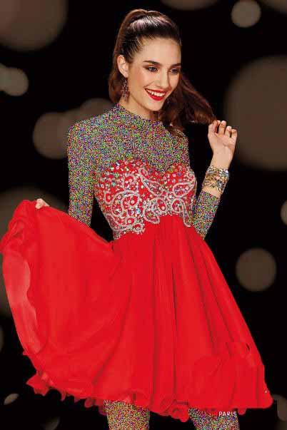 مدل لباس مجلسی قرمز طرح کوتاه
