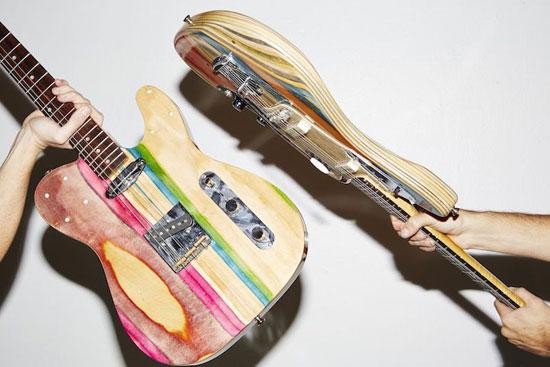 تصاویر دیدنی از ترکیب جالب گیتار و اسکیت برد